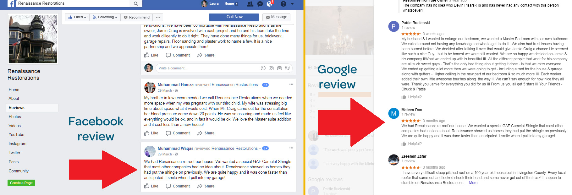 renaissance restoration example of a fake review on google and facebook