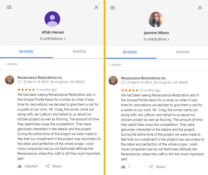 renaissance restoration fake reviews for historic home remodeling in grosse pointe